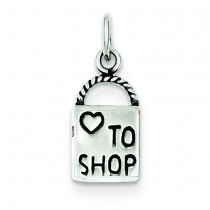 Antiqued Love To Shop Charm in Sterling Silver