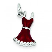 Red Dress Charm in Sterling Silver