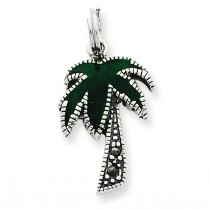 Green Palm Tree Charm in Sterling Silver
