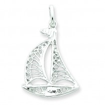 Filigree Sailboat Charm in Sterling Silver