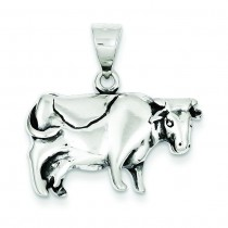 Antiqued Cow Charm in Sterling Silver