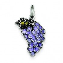 Purple Grape Charm in Sterling Silver