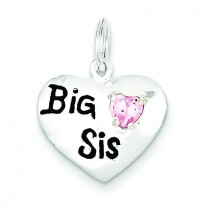 Big Sis CZ Heart Charm in Sterling Silver