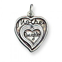 Antique Mother Daughter Charm in Sterling Silver