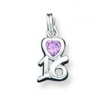 Pink CZ Sixteen Charm in Sterling Silver