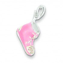 Pink CZ Shoe Charm in Sterling Silver
