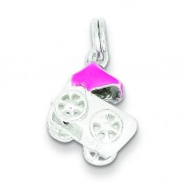 Pink Baby Carriage Charm in Sterling Silver