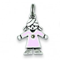Girl Charm in Sterling Silver