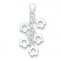 Dangling Flowers Pendant in Sterling Silver