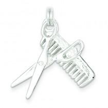 Comb Scissor Charm in Sterling Silver