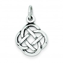 Antiqued Celtic Knot Charm in Sterling Silver