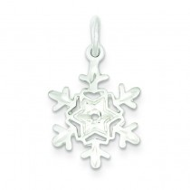 Diamond Cut Snowflake Charm in Sterling Silver