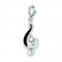 Red Treble Clef Charm in Sterling Silver