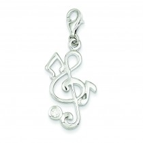 Treble Clef CZ Charm in Sterling Silver