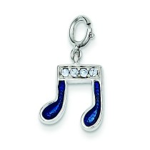 Blue Crystal Charm in Sterling Silver