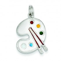 Painting Palette Charm in Sterling Silver