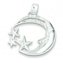 Moon Stars CZ Pendant in Sterling Silver