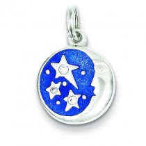 CZ Moon Star Charm in Sterling Silver