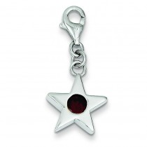 January CZ Birthstone Star Charm in Sterling Silver