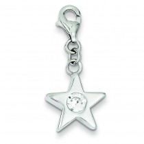 April CZ Birthstone Star Charm in Sterling Silver