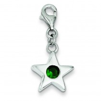 May CZ Birthstone Star Charm in Sterling Silver