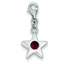 July CZ Birthstone Star Charm in Sterling Silver