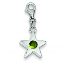 August CZ Birthstone Star Charm in Sterling Silver