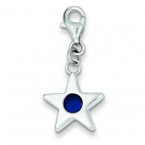 September CZ Birthstone Star Charm in Sterling Silver