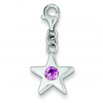 October CZ Birthstone Star Charm in Sterling Silver