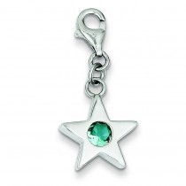 December CZ Birthstone Star Charm in Sterling Silver