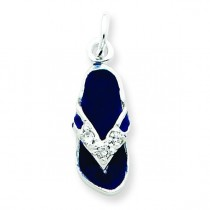 CZ Blue Flip Flop Charm in Sterling Silver