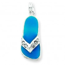 Aqua Crystal Flip Flop Charm in Sterling Silver