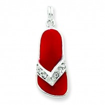 Red CZ Flip Flop Charm in Sterling Silver