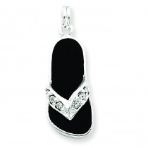 Black Crystal Flip Flop Charm in Sterling Silver