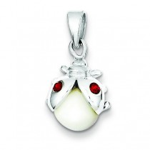 Mother Of Pearl Red Crystal Lady Bug Pendant in Sterling Silver
