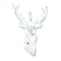 Diamond Cut Bust Of Buck Pendant in Sterling Silver