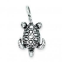 Antiqued Sea Turtle Pendant in Sterling Silver