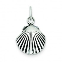Antiqued Sea Shell Charm in Sterling Silver
