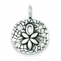 Antiqued Sand Dollar Pendant in Sterling Silver