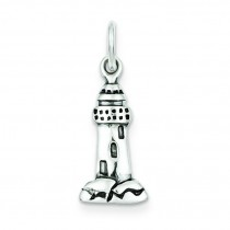Antiqued Lighthouse Charm in Sterling Silver
