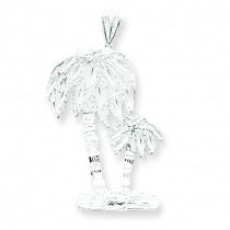 Diamond Cut Palm Trees Pendant Charm in Sterling Silver