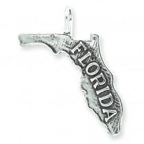 Antiqued Florida State Charm in Sterling Silver