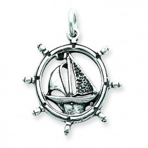 Antiqued Sailboat In Wheel Charm in Sterling Silver