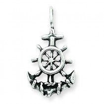 Antiqued Anchor Ship Wheel Pendant in Sterling Silver