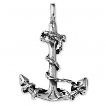 AntiqueAnchor Rope Pendant in Sterling Silver