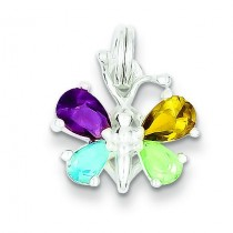 Multicolor CZ Butterfly Charm in Sterling Silver