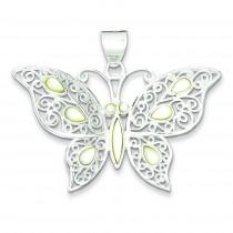 Mother Of Pearl Fancy Butterfly Pendant in Sterling Silver