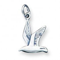 Antiqued Seagull Charm in Sterling Silver