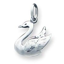 Antiqued Swan Charm in Sterling Silver