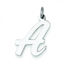 Large Script Initial A Charm in Sterling Silver